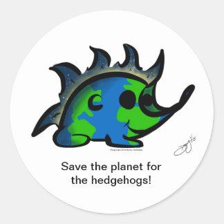 """Sticker Rond """"Sauvez la planète pour les hérissons !"""