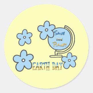 Sticker Rond Sauvez le globe de jour de la terre de planète