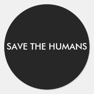 STICKER ROND SAUVEZ LES HUMAINS