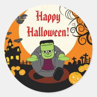 Sticker Rond Scène de Halloween Frankenstein de pleine lune de