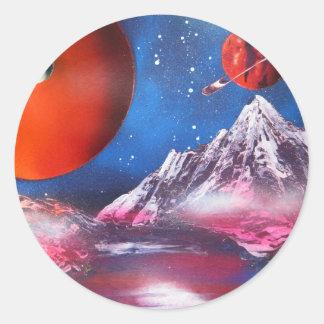 Sticker Rond Scène de planètes d'espace extra-atmosphérique