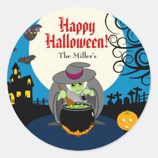 Sticker Rond Scène effrayante de sorcière de Halloween de