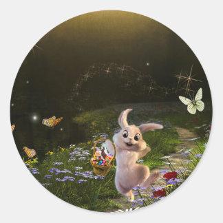 Sticker Rond Scène magique de lapin de Pâques d'imaginaire