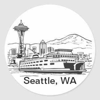 Sticker Rond Schéma état de Washington de ferry de Seattle