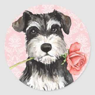 Sticker Rond Schnauzer de rose de Valentine mini