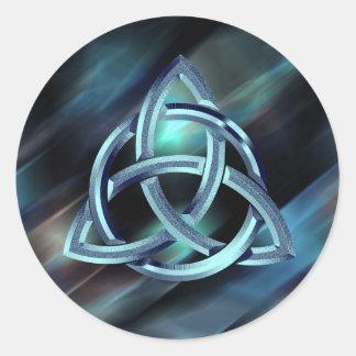 Sticker Rond Scintillement bleu celtique en métal de noeud de