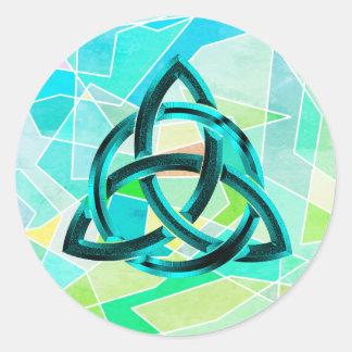 Sticker Rond Scintillement bleu géométrique celtique en métal