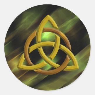 Sticker Rond Scintillement vert celtique en métal de noeud de