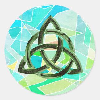 Sticker Rond Scintillement vert géométrique celtique en métal
