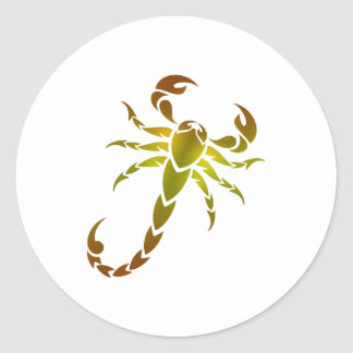 Sticker Rond Scorpion d'or