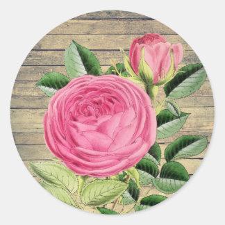 Sticker Rond S'est levé l'autocollant vintage rustique floral
