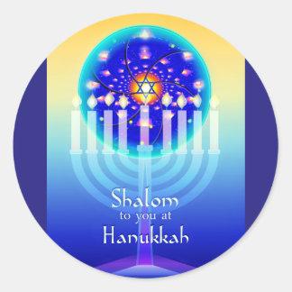 Sticker Rond Shalom aux lumières de Hanoukka Menorah et à