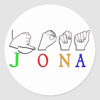 STICKER ROND SIGNE NOMMÉ DE JONA ASL FINGERSPELLED