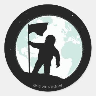 Sticker Rond Silhouette d'astronaute