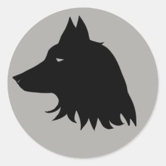 Sticker Rond Silhouette de loup