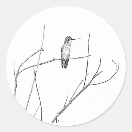 Sticker Rond Simplement un colibri sur un bâton