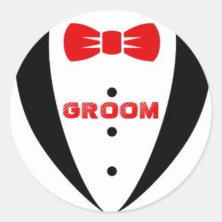 Sticker Rond Smoking Tex-Noir de marié et Bowtie rouge