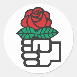 Sticker Rond Socialisme Democratic (le poing et le symbole