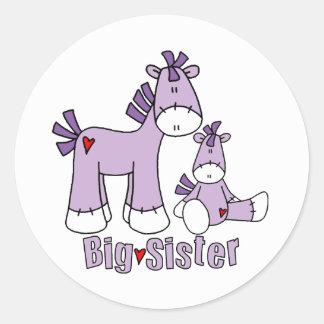 Sticker Rond Soeur de poneys de chaussette grande