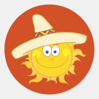 Sticker Rond Sombrero de port de Sun