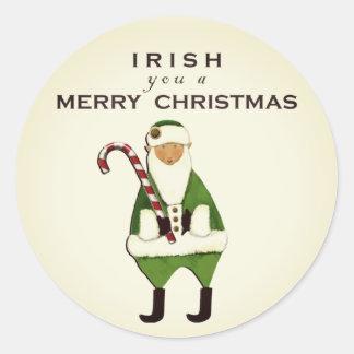 Sticker Rond Souhait irlandais de Noël