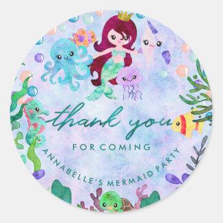 Sticker Rond Sous le Merci d'anniversaire de thème de sirène de