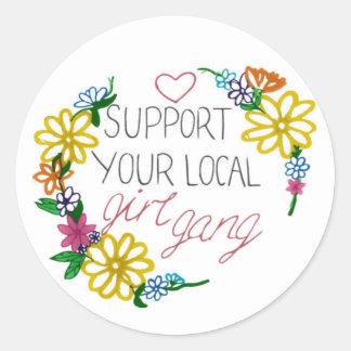 Sticker Rond soutenez votre bande locale de fille !