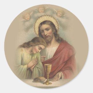 Sticker Rond Souvenir catholique de première sainte communion