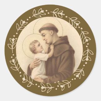 Sticker Rond St Anthony de bébé Jésus de Padoue