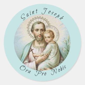 Sticker Rond St Joseph, enfant Jésus, personnel de lis, croix