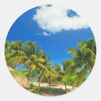 Sticker Rond Station balnéaire tropicale, Belize