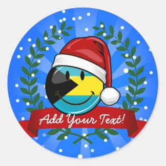 Sticker Rond Style gai de Noël de drapeau des Bahamas