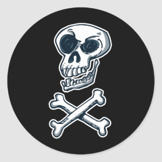 Sticker Rond style riant de crâne et de bande dessinée d'os