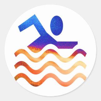 Sticker Rond Succès de natation - esprit frais en périodes