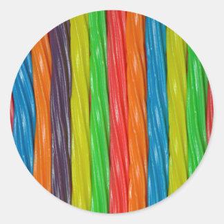 Sticker Rond Sucrerie de réglisse colorée par arc-en-ciel