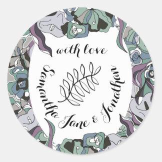 Sticker Rond Suite florale de mariage de forêt de hasard