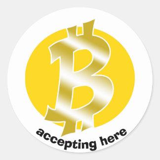 Sticker Rond symbole de logo de bitcoin tiré par la main
