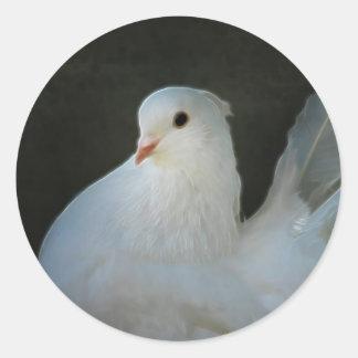 Sticker Rond Symbole de paix de colombe de blanc