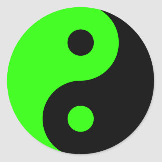 Sticker Rond Symbole vert de Yin Yang