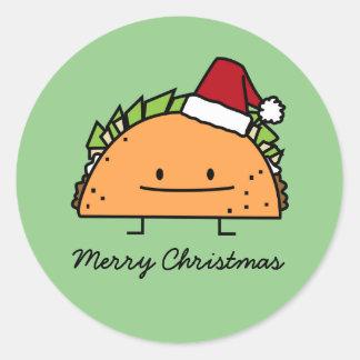Sticker Rond Taco portant le Salsa de viande de coquille de