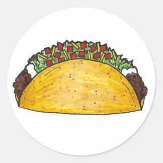 Sticker Rond Tacos durs de maïs de Shell de fin gourmet