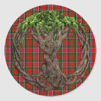 Sticker Rond Tartan de MacNaughton de clan et arbre de la vie