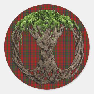 Sticker Rond Tartan de Matheson de clan et arbre de la vie