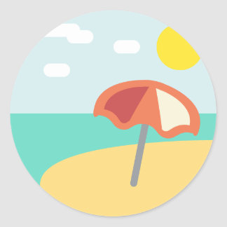 Sticker Rond Temps Emoji de plage