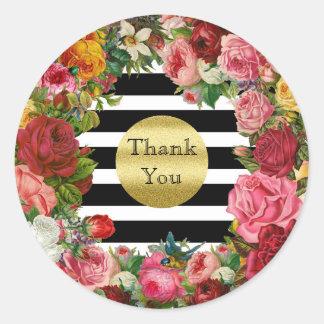Sticker Rond Tendance de scintillement d'or de fleurs de roses