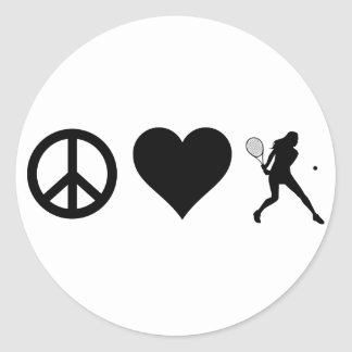 Sticker Rond Tennis d'amour de paix (femelle)