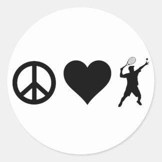 Sticker Rond Tennis d'amour de paix (mâle)