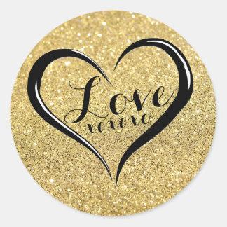 Sticker Rond Texte de noir de coeur de l'amour XOXO sur