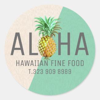 Sticker Rond Texte de toile vert et beige Aloha avec l'ananas