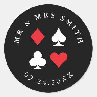 Sticker Rond Texte fait sur commande orienté de casino de Las